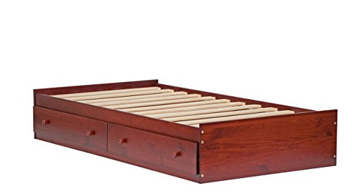 "Palace Imports 2432 100% Solid Wood Kansas Twin Mate's Platform Storage Bed Only, Mahogany Color, 15""H x 42""W x 76""L, 12 Slats, 2 Drawers Included. Optional Bookcase Headboard, Rail Guard Sold Separately. Requires Assembly"