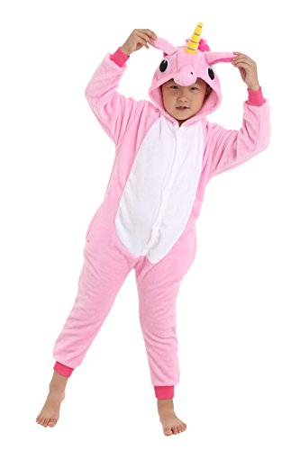 Dingwangyang Unisex-Children Unicorn Pajamas Halloween Animal Cosplay Costume Kigurumi Pink Pegasus -