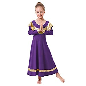 IBAKOM Girls Ruffle Praise Dance Robe Liturgical Worship Metallic Gold Dress Kids Loose Fit Full Length Tunic Dancewear