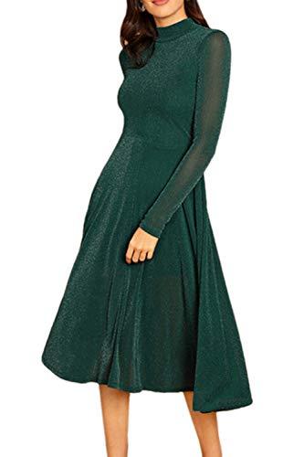 Casual Manica Glitter Green Lunga Le Vestono Slim Vestiti Swing Donne tsQdCrh