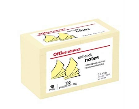 Office Depot Self-Stick Notes, 3 in x 3 in, Yellow, 100 Sheets per Pad, Pack of 18