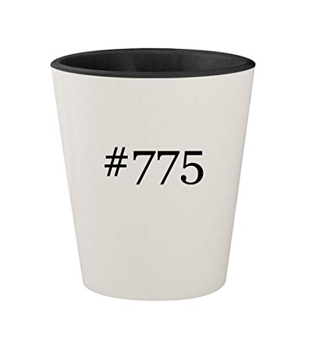 (#775 - Ceramic Hashtag White Outer & Black Inner 1.5oz Shot Glass)