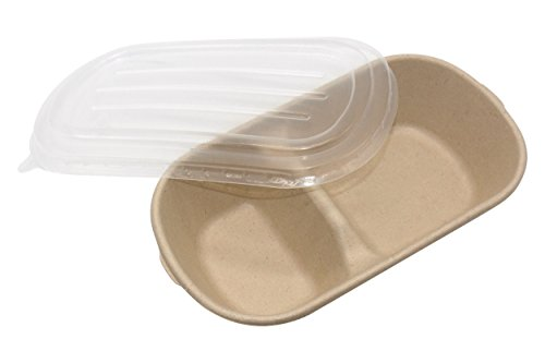 25.6oz Disposable Degradable Eco-friendly Rectangular Container Box With Two Compartments Bento Boxes Meal Boxes Lunch Boxes Oval Bowl With Lid 100% Natural Wheat Straw Fiber, Pack of 50pcs