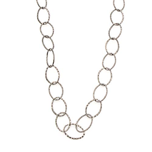 - Long Oval Gunmetal Tone Cable Chain Necklace - Textured Hammered, For Layering, No Clasp 32-in