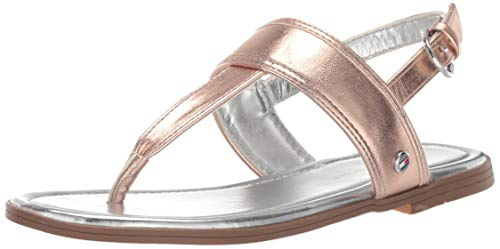 Tommy Hilfiger Girls Kids' Paige Flat Sandal, Rosegold Metallic, 12 Medium US - Flat Childrens