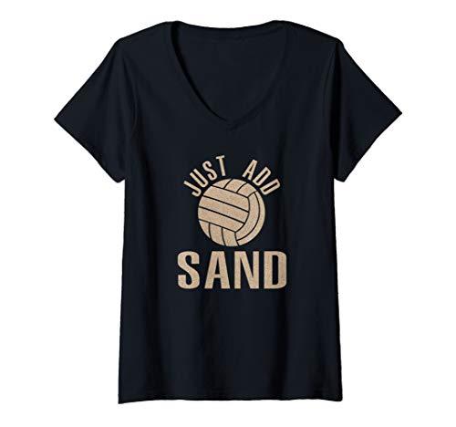 Womens Just Add Sand Beach Volleyball Shirt Art-Volleyball Player V-Neck T-Shirt (Best Female Beach Volleyball Players)