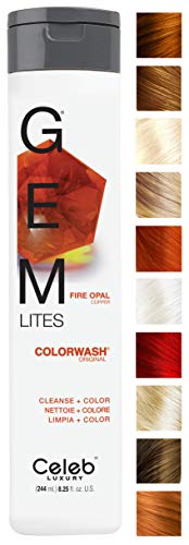Celeb Luxury Gem Lites Colorwash: Fire Opal Copper, Color Depositing Shampoo, 10 Traditional Colors, Stops Fade in 1 Quick Wash, Cleanse + Color, Sulfate-Free, Cruelty-Free, 100% Vegan