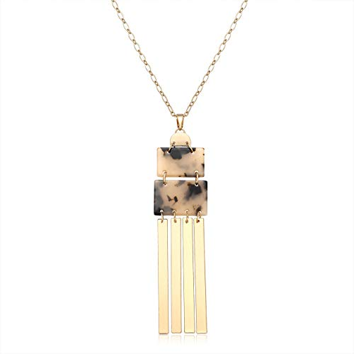 - YINL Geometric Pendant Necklace - Statement GeometricAcrylicRectangle Charm Necklace Gold Metal Bar Tassel Pendant Long Necklace for Women (Tortoiseshell)