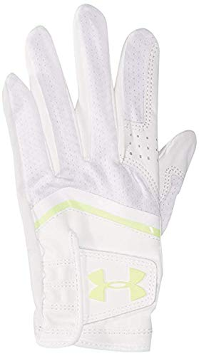 Under Armour UA Switch Cabretta Leather Palm Golf Glove Pro Gear (White/Lime Green) Women's Left-Hand Small