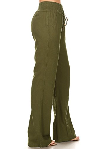 April Apparel Inc. Via Jay Women's Casual Relaxed-Fit Wide Leg High Waist Pants (X-Large, Olive)