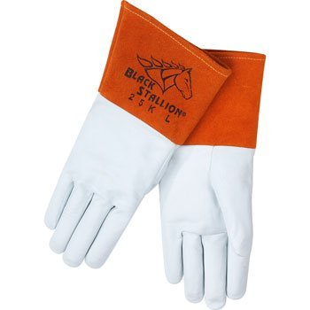 Black Stallion 25K Long Cuff Prem.Grain Kidskin TIG Welding Gloves,X-L (Grain Cuff)