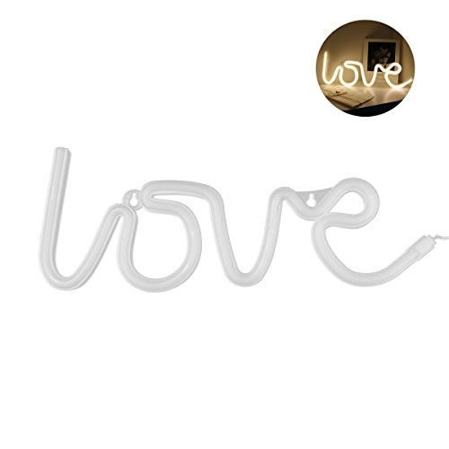 House Sign Light (Neon Love Signs Light LED Neon Art Decorative Lights Wall Decor for Girls Bedroom House Bar Pub Hotel Beach Recreational (love warm white))