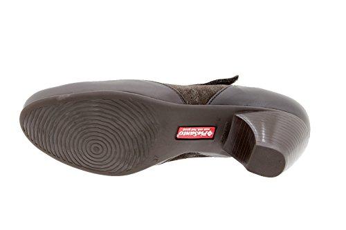 Calzado mujer confort de piel Piesanto 9407 zapato mary-jean casual cómodo ancho Caoba