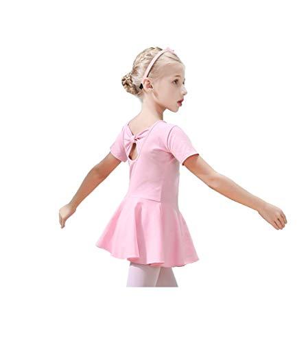 f0b5c9396 XINAO Girls  Short Sleeve Ruffle Classic Ballet Leotard Gymnastics ...