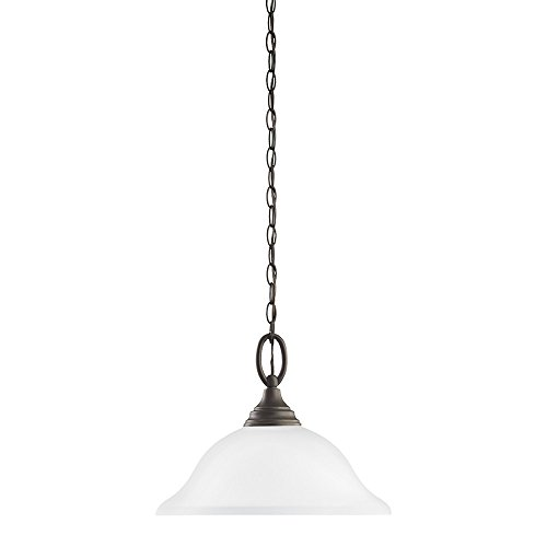 Sea Gull Lighting 65625-782 Wheaton One-Light Pendant with Satin Etched Glass Shade, Heirloom Bronze ()