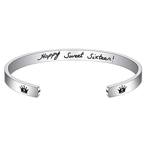 M MOOHAM 16th Birthday Gifts for Girls - Engraved Happy Sweet Sixteen Bracelet Jewelry Birthday Gifts for 16 Year Old Girl Daughter Granddaughter Niece Turning 16 Jewelry Gift Idea (Best Gift For 16 Year Girl)