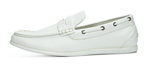 Bruno Marc Hombres Kilin Mocasines De Conducción Mocasines Zapatos Blanco