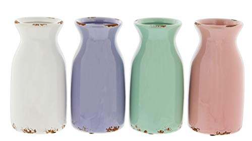 Distinctive Designs Set of 4 Ceramic Milk Jug Vases in White, Purple, Green, Pink 6.5