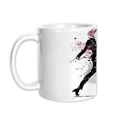 - Fashion Stylish White Printed Mug,Glamorous Stylish Sexy Woman Model on Catwalk Runway in Vintage Clothes Design for Living Room Bedroom,3.1