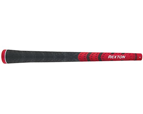 Rexton Dual-Texture Oversize (+1/16) Red/Black Golf Grip Kit (13 Grips, Tape, Clamp)