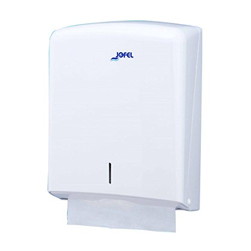 Jofel AH33000 - Dispensador de toallas formato zig-zag, admite 600 toallas, color blanco: Amazon.es: Industria, empresas y ciencia