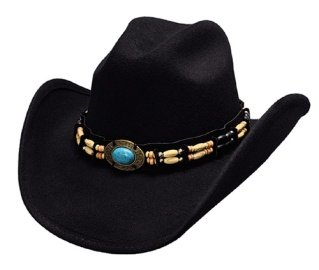 Large ''Fortune'' Felt Western Hat with Turquoise and Barrel Beads
