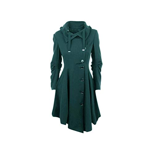 De Abrigo Con Larga Cálido Medio Tops Dobladillo Manga Verde Abrigo Liso Mujer Irregular Ropa Largo Capuchas Para Color Dfgthrthrt 6gR74nWaR