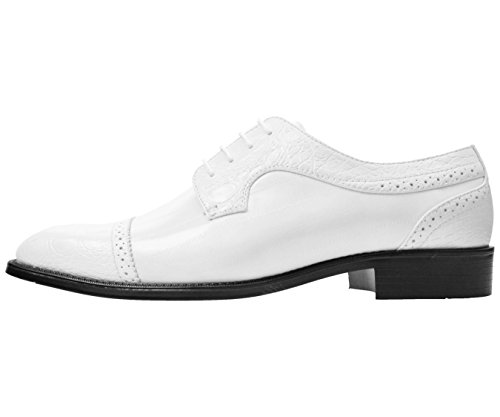 Bolano Mens Exotic Eel Skin & Lizard Skin Print Cap Toe Oxford Dress Shoes Styles Bandit, Dallas, Rollins White/Croco-captoe