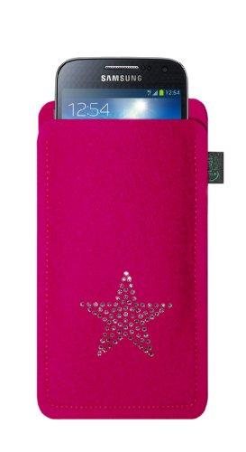 Krings fashion® Filztasche für Samsung Galaxy S4 Mini und iPhone 5C, Filzfarbe pink, mit Stern aus Swarovski® Kristalle; Qualität aus Deutschland