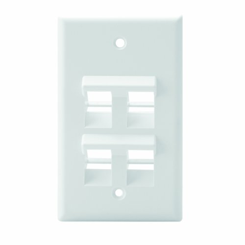 Leviton 41081-4WP Angled QuickPort Wallplate 4-Port, Single Gang, ()