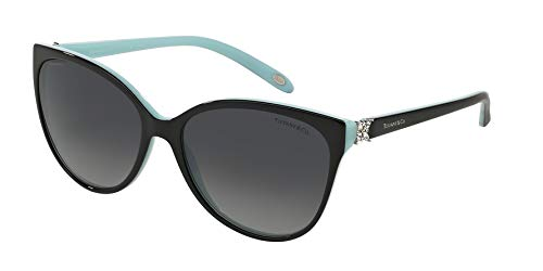 TIFFANY & CO. TF4089B - 8055T3 Sunglasses Black/ Turquoise Silver w/ Grey Gradient Polarized ()