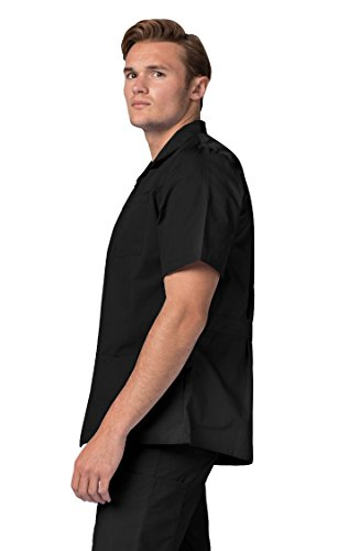 Adar Universal Men's Zippered Short Sleeve Jacket (Available in 7 colors) - 607 - Black - 2X by ADAR UNIFORMS (Image #4)