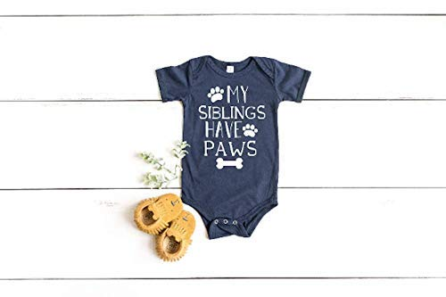 My Siblings Have Paws Bodysuit - Funny Newborn Outfit - Baby Shower Gift
