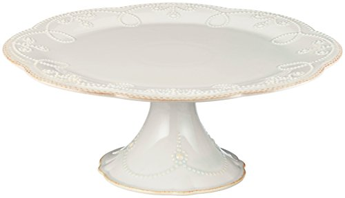 Lenox French Perle Pedestal Cake Plate, Medium, White