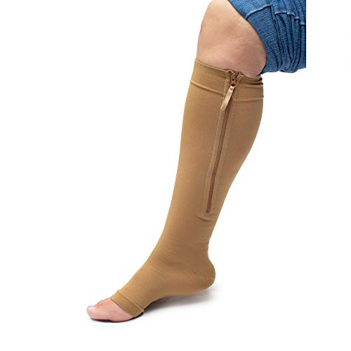Zippered Medical Compression Socks with Zipper Safe Protection & Open Toe (Sizes Med to Wide 6XL) Support Stockings for Men and Women (L Calf 10-13 inch Beige)