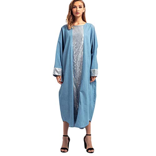 Sequin Loose Dresses for Women Plus Size Islamic Muslim Middle East Robe Long Sleeve Dresses (XL, Blue)