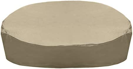 """SolarPatio Daybed Cover, Outdoor Round Canopy Daybed Sofa Cover, Heavy Duty Waterproof Patio Furniture Cover with Seam Taped, Fade Resistant Material, Helpful Air Vent, 88""""L x 85""""W x 35""""H, Neutral Taupe"""