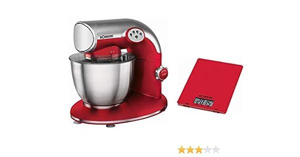 Boman KM 326 CB – Robot amasador multifunción 1200 W + báscula de cocina digital con pantalla LCD – Color rojo: Amazon.es: Hogar