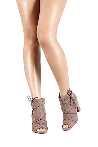Women's Strappy Lace Up Peep Toe Booties