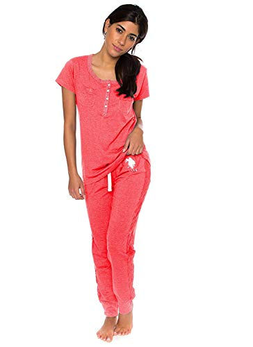 U.S. Polo Assn. Womens Short Sleeve Shirt and Long Pajama Pants Sleepwear Set Georgia Peach Heather Medium