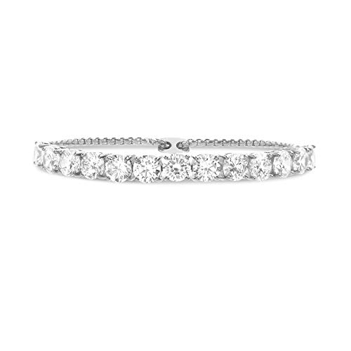Devin Rose Cubic Zirconia Adjustable Bolo Bracelet for Women in Rhodium Plated Brass (6mm White)