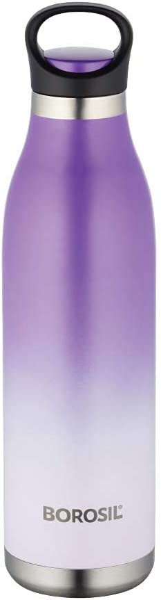 Borosil Stainless Steel Hydra ColourCrush - Vacuum Insulated Flask Water Bottle, 700 ML, Violet