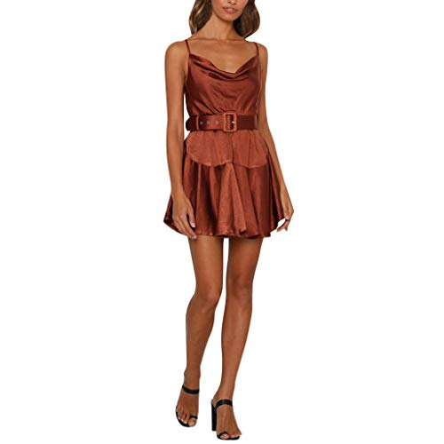 - Women Sexy Solid Color Dress, Youngh Ruffles Sleeveless Sling Ruffle Midi Dress Party Dress with Belt Brown