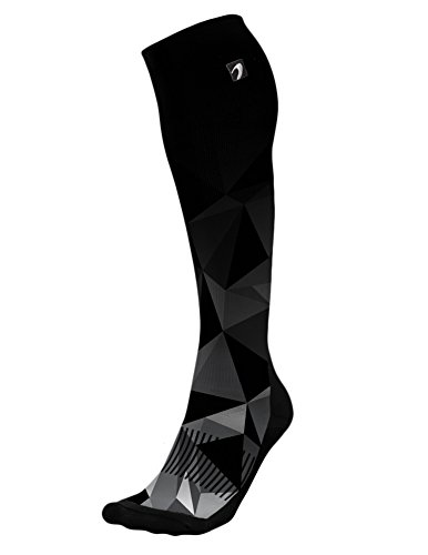 - Designer Compression Socks Graduated for Performance and Recovery by Acel (Kaleidoscope Black, L)