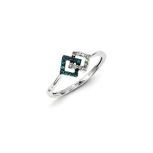 .15 Cttw (I2-I3 clarity) Blue&H-I White Diamond Small Double Square Ring In Sterling Silver