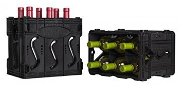 Storvino Nero 6 Bottle Wine Storage Container, Set of 2