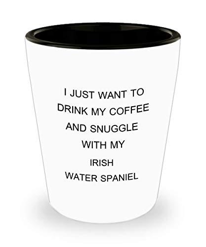 Funny Irish Water Spaniel Shot Glass Gift Idea For Dog Puppy Lover Dad Mom Women Men Sitter Owner ()