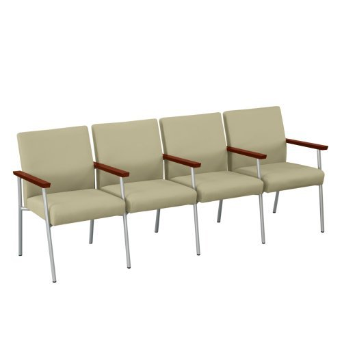 UPC 889731055868, Uptown Fabric Four Seater with Center Arms Coffee Bean Fabric/Walnut Finish Arms/Silver Legs