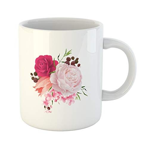 - Tarolo 11 Oz Mug Coffee Mug Ceramic Tea Cup Pink Elegant Elegance Flowers Bouquet of Color Roses and Tulip Composition Blossom Branches Red Floral Large C-handle Family and Office Gift