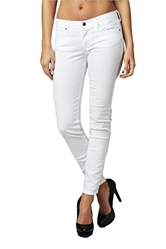 Angry Rabbit Women's Premium Denim Ankle Color Skinny Jean (30, White)